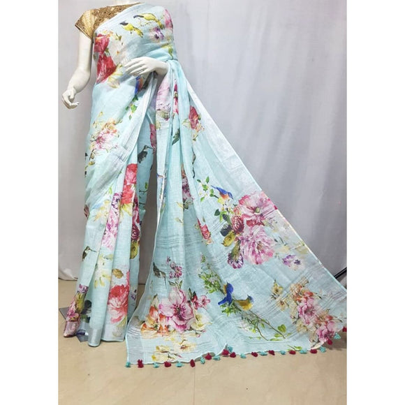 Linen by linen digital printed sea green pure organic handwoven saree with silver zari border - Digital Printed Linen Sarees