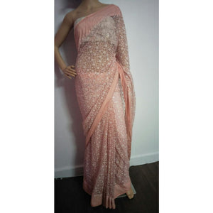 Lucknowi Chikankari saree in peach with embroidery and blouse piece