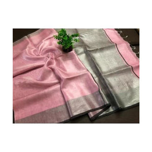 Pink organic handwoven linen tissue saree with silver zari and black line border - Pink - Linen Tissue Sarees