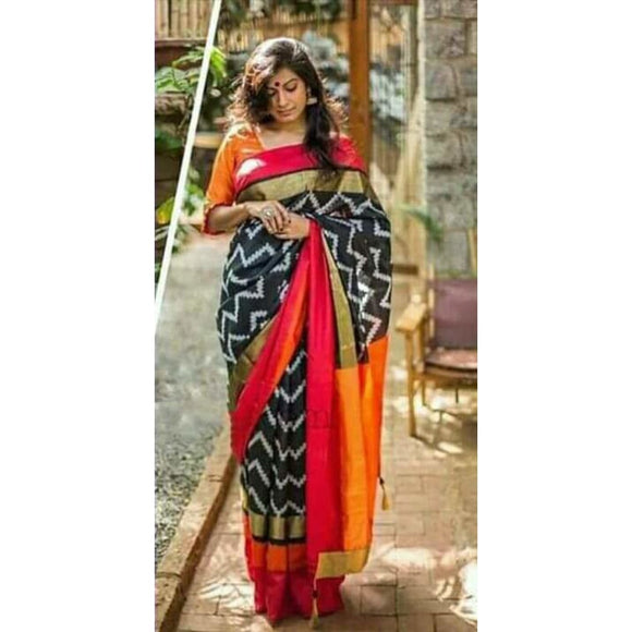 Pochampally ikkat black with orange and maroon zari border handwoven pure silk saree - Pochampally Ikkat Silk Sarees