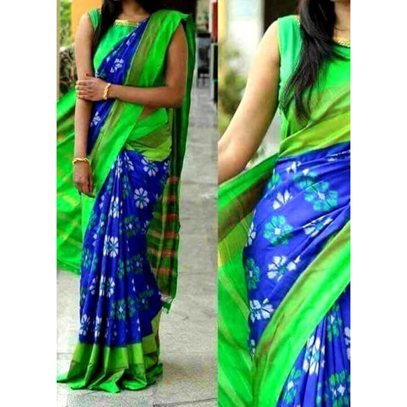 Pochampally ikkat blue and green handwoven pure silk saree with flower motifs - Pochampally Ikkat Silk Sarees