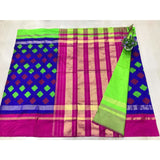 Pochampally ikkat blue with pink handwoven pure silk saree with buttis - Pochampally Ikkat Silk Sarees