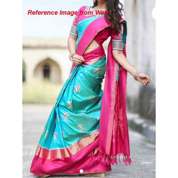 Pochampally ikkat blue with pink zari border handwoven pure silk saree - Pochampally Ikkat Silk Sarees
