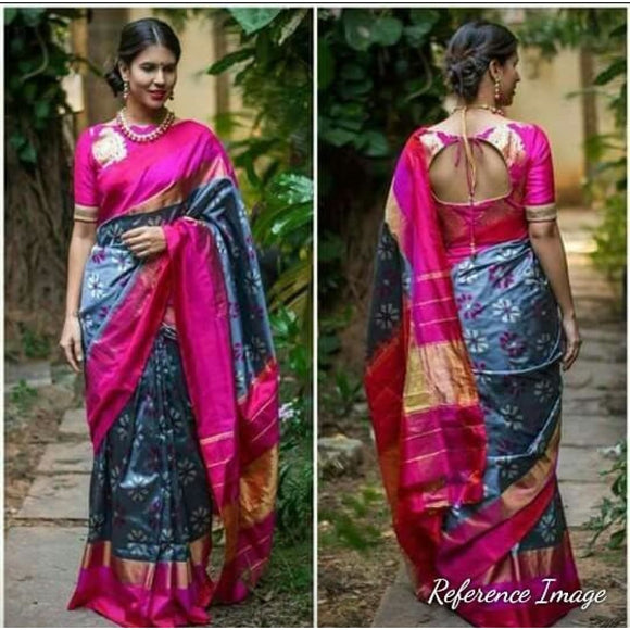 Pochampally ikkat gray with pink handwoven pure silk saree in floral design - Pochampally Ikkat Silk Sarees