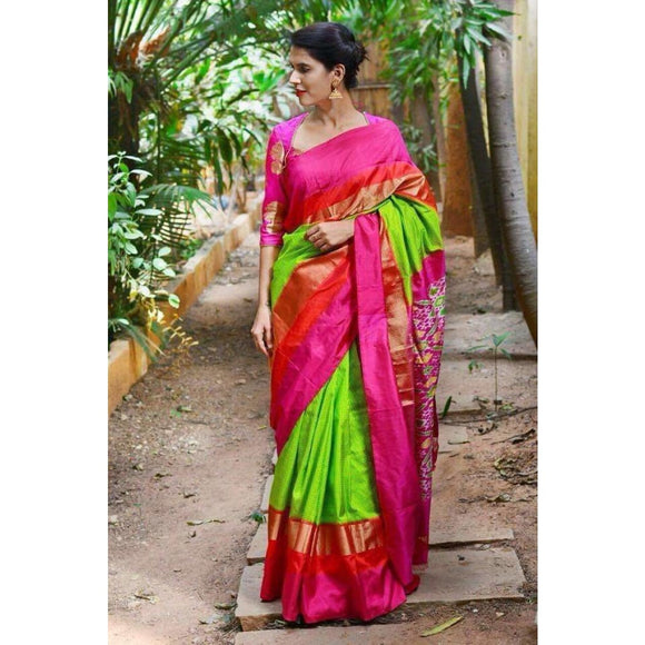 Pochampally ikkat green and pink small checks handwoven pure silk saree - Pochampally Ikkat Silk Sarees