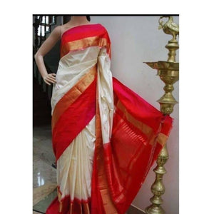 Pochampally ikkat off white with pink handwoven pure silk saree - Pochampally Ikkat Silk Sarees