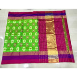 Pochampally ikkat parrot green with pink and purple handwoven pure silk saree - Pochampally Ikkat Silk Sarees