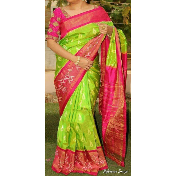 Pochampally ikkat parrot green with pink handwoven pure silk saree - Pochampally Ikkat Silk Sarees