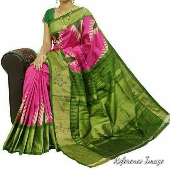Pochampally ikkat pink with green handwoven pure silk saree - Pochampally Ikkat Silk Sarees