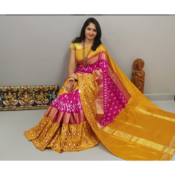 Pochampally ikkat pink with mustard yellow handwoven pure silk saree with buttis - Pochampally Ikkat Silk Sarees