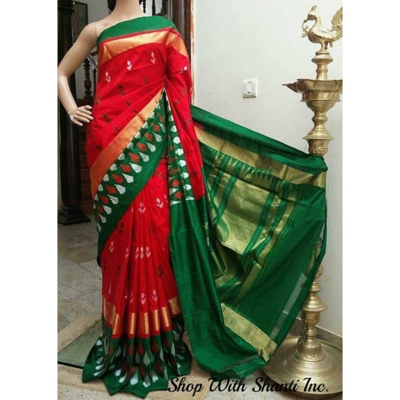 Pochampally ikkat red with green handwoven pure silk saree - Pochampally Ikkat Silk Sarees