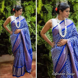 Pochampally ikkat white with blue handwoven pure silk saree - Pochampally Ikkat Silk Sarees