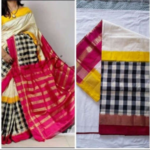Pochampally ikkat white with pink and yellow handwoven pure silk saree with black and white checks - Pochampally Ikkat Silk Sarees