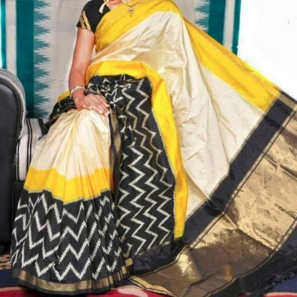 Pochampally ikkat white with yellow and black border handwoven pure silk saree - Pochampally Ikkat Silk Sarees