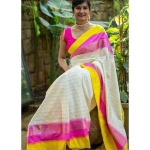 Pochampally ikkat white with yellow and pink handwoven pure silk saree with zari lines - Pochampally Ikkat Silk Sarees