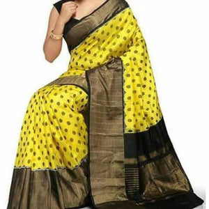 Pochampally ikkat yellow with black handwoven pure silk saree - Pochampally Ikkat Silk Sarees