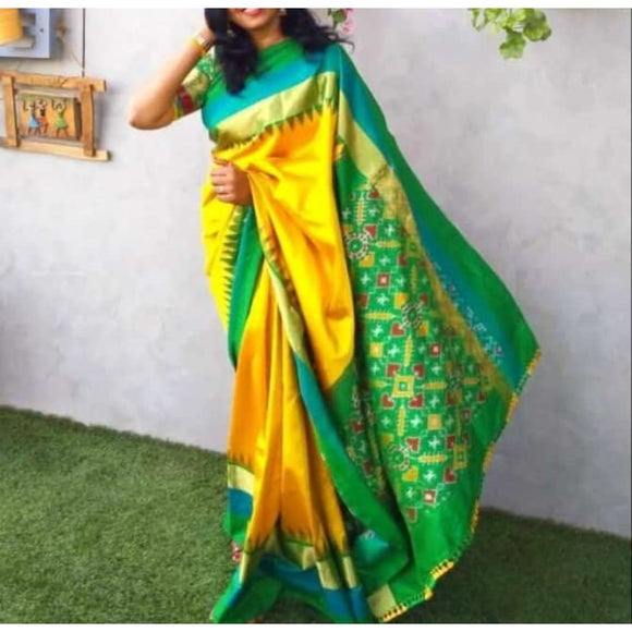 Pochampally ikkat yellow with green handwoven pure silk saree - Pochampally Ikkat Silk Sarees