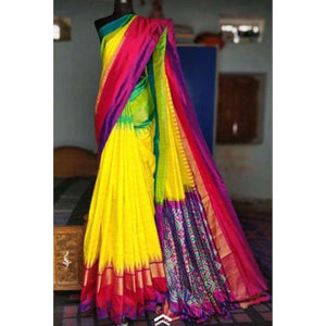 Pochampally ikkat yellow with multi color border handwoven pure silk saree - Pochampally Ikkat Silk Sarees