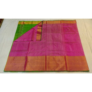 Uppada baby pink with green handwoven pure silk saree with wide golden zari border - Uppada Plain Silk Saree