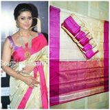 Uppada cream with pink handwoven full tissue saree - Uppada Tissue Saree