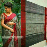 Uppada dark gray with maroon handwoven full tissue saree - Uppada Tissue Saree