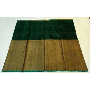 Uppada dark green half tissue half silk handwoven saree - Uppada half Silk half Tissue Saree