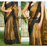 Uppada gold with black handwoven full tissue saree - Uppada Tissue Saree