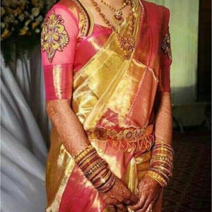 Uppada gold with pink handwoven full tissue saree - Uppada Tissue Saree