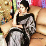 Uppada gray with black handwoven full tissue saree - Uppada Tissue Saree