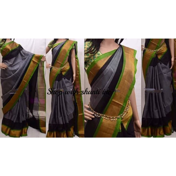 Uppada gray with green and blackk handwoven silk saree with special border - Uppada special border silk saree