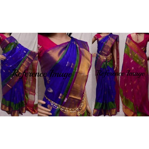 Uppada handwoven blue with pink pure silk saree with butti work - Uppada silk saree with butti work