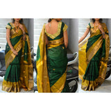Uppada handwoven bottle green pure silk saree with butti work - Uppada silk saree with butti work