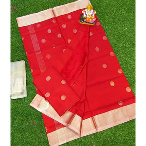 Uppada handwoven red pure silk saree with coin butta work - Uppada silk saree with butti work
