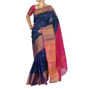 Uppada handwoven royal blue with pink pure silk saree with butti work - Uppada silk saree with butti work