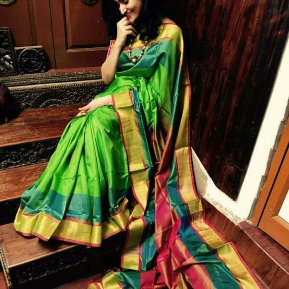 Uppada Light green with dark green and pink handwoven silk saree with special border - Uppada special border silk saree