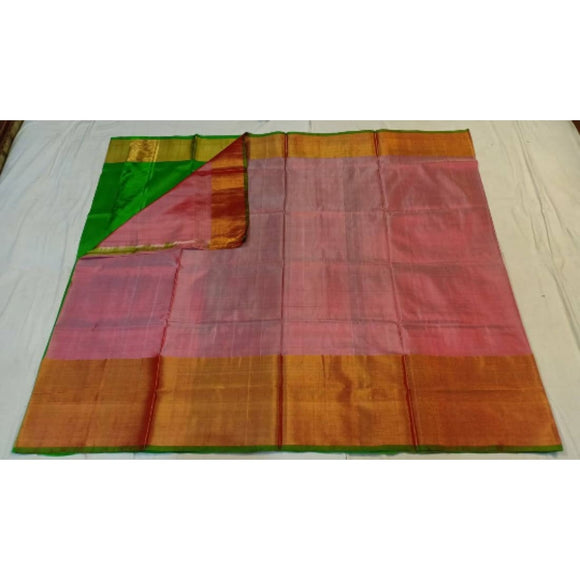 Uppada light pink with green handwoven pure silk saree with wide golden zari border - Uppada Plain Silk Saree