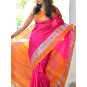 Uppada light pink with yellow soft handwoven pure silk saree with special border - Uppada special border silk saree