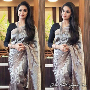 Uppada metallic gray handwoven full tissue saree - Uppada Tissue Saree