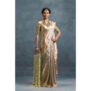 Uppada mixed gold and silver handwoven full tissue saree - Uppada Tissue Saree