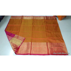 Uppada mustard yellow with pink handwoven pure silk saree with wide golden zari border - Uppada Plain Silk Saree