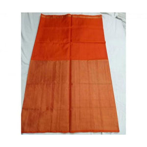 Uppada orange half tissue half silk handwoven saree - Uppada half Silk half Tissue Saree