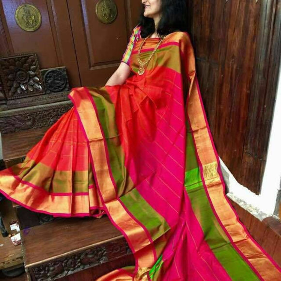Uppada orange with green and pink handwoven checks silk saree with special border - Uppada special border silk saree