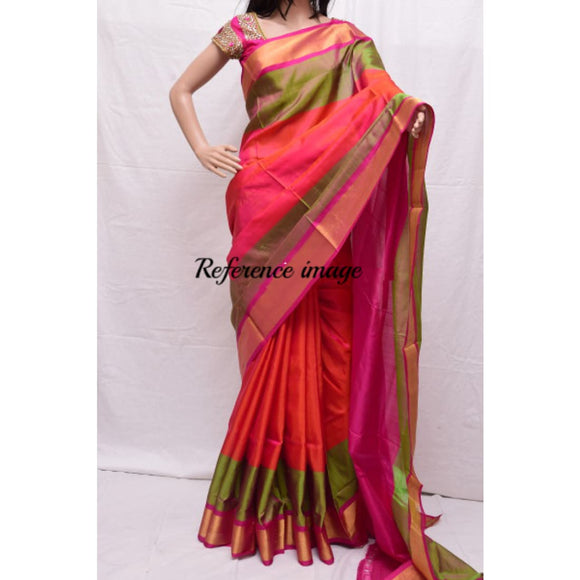 Uppada orange with green and pink handwoven silk saree with special border - Uppada special border silk saree