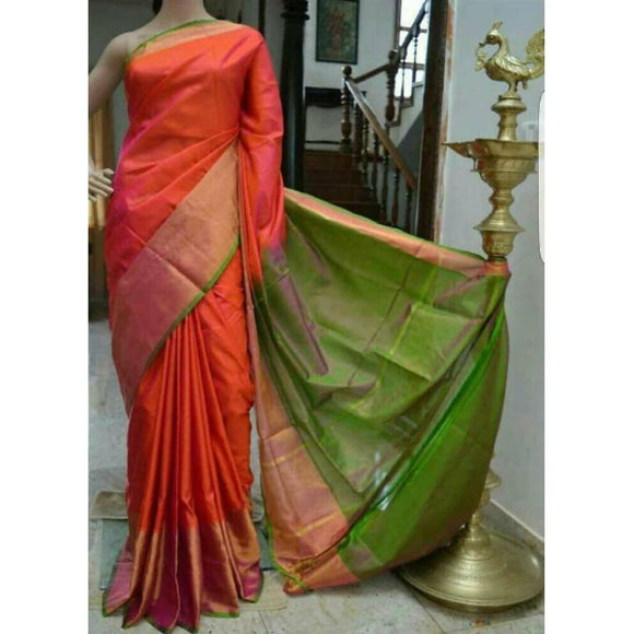 Uppada orange with green handwoven pure silk saree with wide golden zari border - Uppada Plain Silk Saree