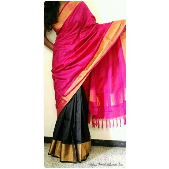 Uppada pink with black half and half handwoven pure silk saree - Uppada Half and Half Silk Sarees