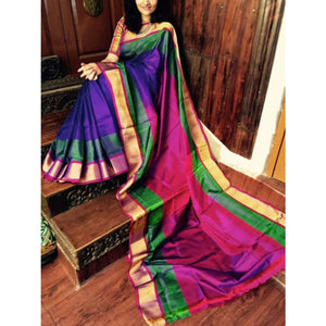 Uppada Purple with green and pink handwoven silk saree with special border - Uppada special border silk saree