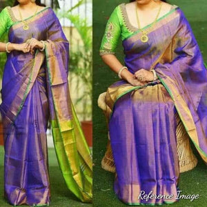 Uppada purple with green handwoven full tissue saree - Uppada Tissue Saree