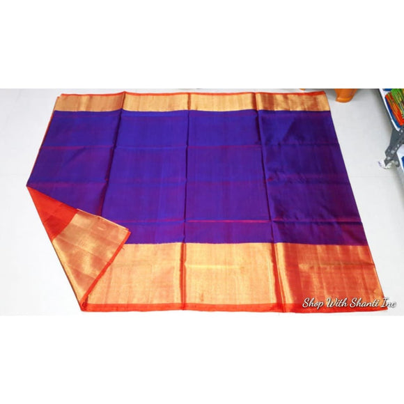 Uppada purple with red handwoven pure silk saree with wide golden zari border - Uppada Plain Silk Saree