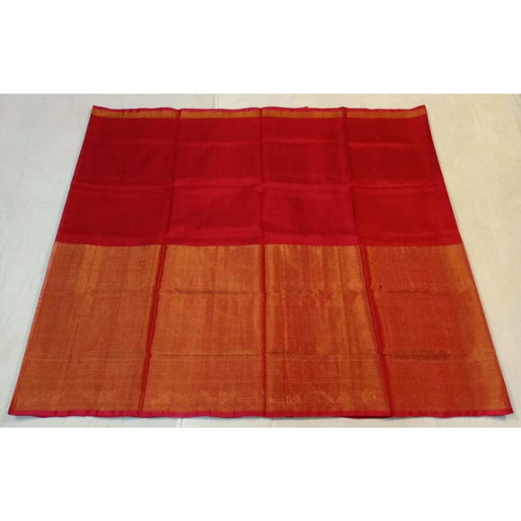 Uppada red half tissue half silk handwoven saree - Uppada half Silk half Tissue Saree