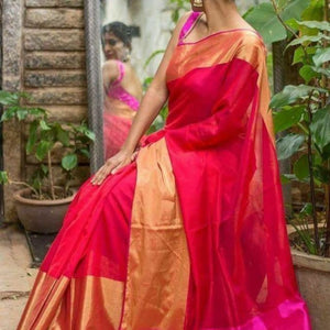 Uppada red handwoven pure silk saree with wide golden zari border - Uppada Plain Silk Saree